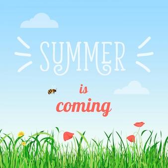 Llega el verano del cartel con flores y hierba.