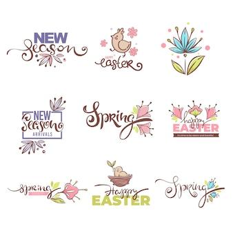 Llegadas de la nueva temporada, logo de ester, símbolos e íconos de primavera. composición de letras dibujadas a mano con elementos florales de primavera