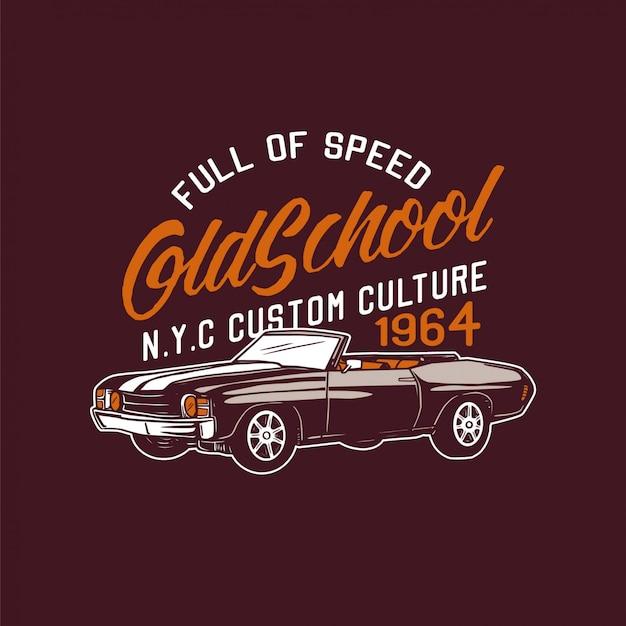 Lleno de velocidad oldschool custom culture car diseño retro ilustración