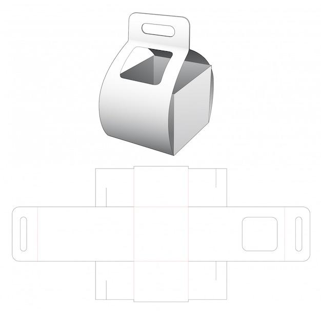 Llevar caja de cartón con ventana troquelada plantilla