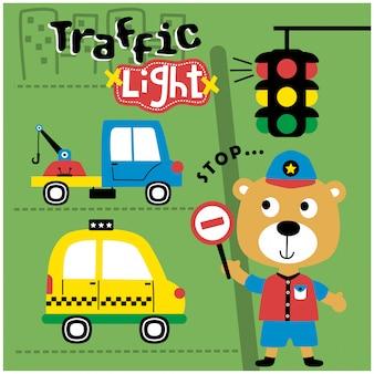Llevar a la policía en la ciudad divertidos dibujos animados de animales, ilustración vectorial