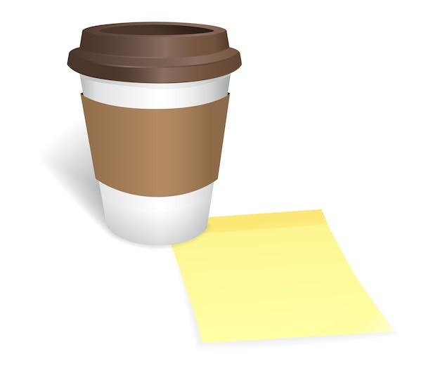 Llévate una taza de café y notas adhesivas sobre fondo blanco