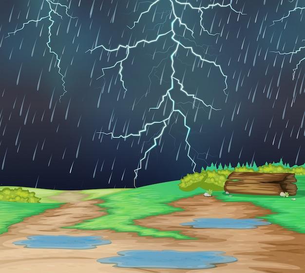 Lloviendo en el paisaje natural