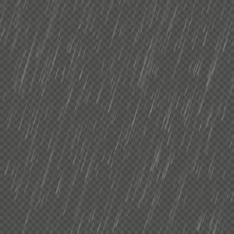 Lluvia aislado efecto realista en ángulo. lluvia natural transparente