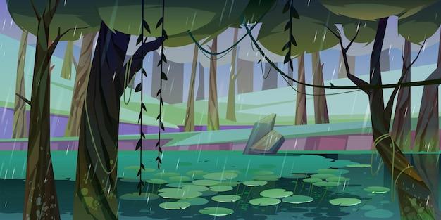 Lluvia en el bosque con pantano o lago y nenúfares flotando.