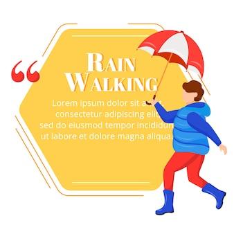 Lluvia caminando cita de personaje de color niño en botas de goma. niño con paraguas. clima húmedo. chico de abrigo. cita plantilla de marco en blanco. burbuja de diálogo. cuadro de texto de cita vacía