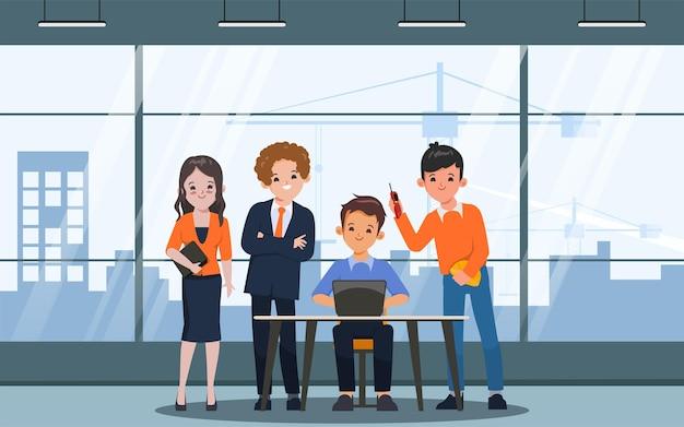 Lluvia de ideas, carácter de trabajo en equipo, gente de negocios, trabajo en equipo, oficina, carácter, animación, movimiento
