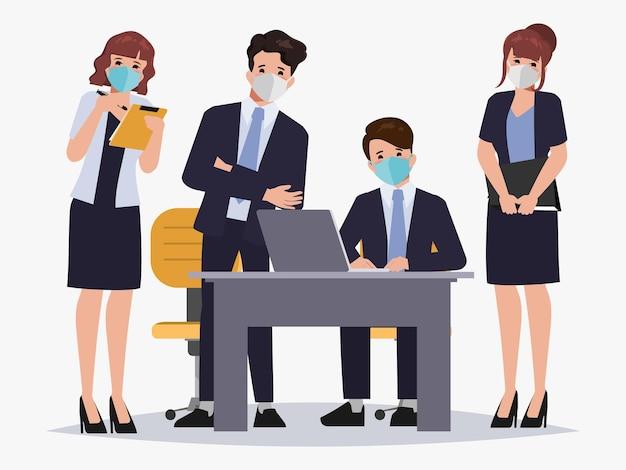 Lluvia de ideas, carácter de trabajo en equipo, gente de negocios, trabajo en equipo, oficina, carácter