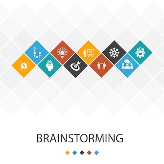 Lluvia de ideas concepto de infografías de plantilla de interfaz de usuario de moda. imaginación, idea, oportunidad, iconos de trabajo en equipo