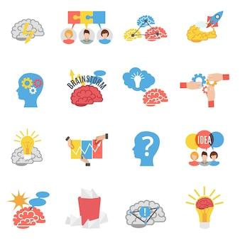 Lluvia de ideas creativa plana iconos conjunto