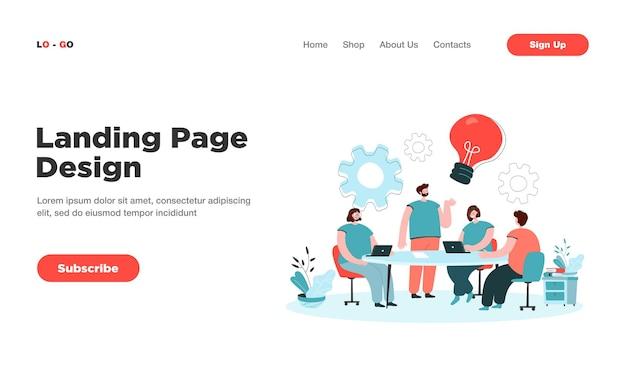 Lluvia de ideas del equipo de la empresa en la página de inicio de la reunión
