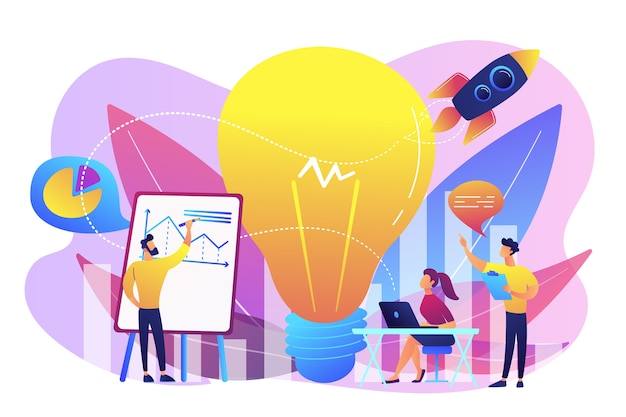 Lluvia de ideas del equipo de negocios, bombilla y cohete. declaración de visión, misión empresarial y empresarial, concepto de planificación empresarial