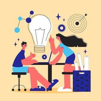 Lluvia de ideas, estilo de línea, color, ilustración, con, joven, creativo, hombre y mujer