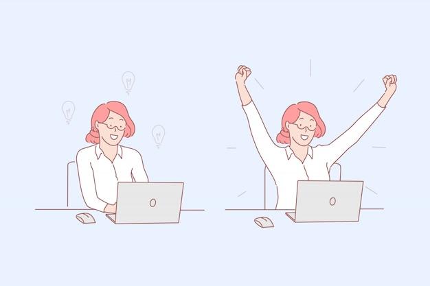 Lluvia de ideas y éxito, ilustración de desempeño de tareas