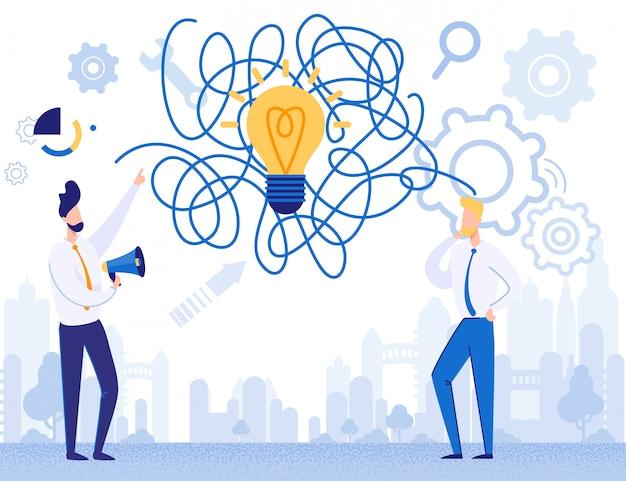 Lluvia de ideas de hombres de negocios crear metáfora de idea