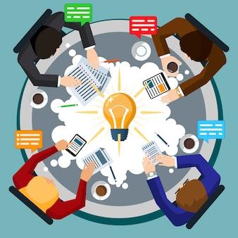 Lluvia de ideas icono plano ilustración del concepto creativo, personas en reunión discutiendo ideas, sobre fondo azul, para carteles y pancartas
