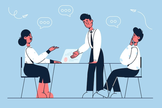 Lluvia de ideas ilustración de trabajo en equipo de socios comerciales