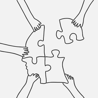 Lluvia de ideas de negocios doodle vector manos conectando rompecabezas
