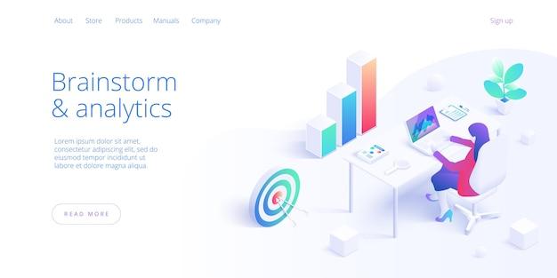 Lluvia de ideas de negocios o análisis isométrico.