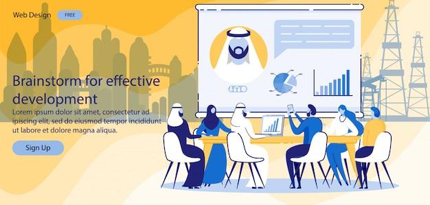 Lluvia de ideas de la página de destino para un desarrollo eficaz.