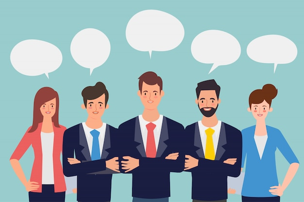 Lluvia de ideas de personas hombre de negocios y empresaria trabajo en equipo corporativo.