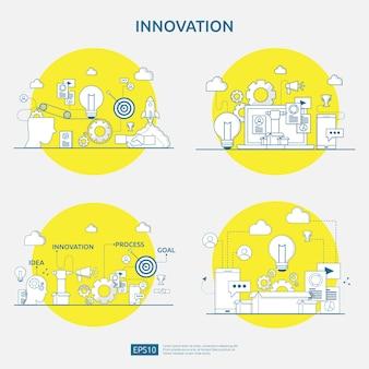 Lluvia de ideas proceso de idea de innovación y concepto de pensamiento creativo con lámpara de bombilla para proyecto de negocio en marcha. conjunto de ilustraciones para página de inicio web, banner, presentación, redes sociales, impresión
