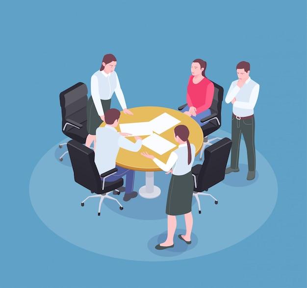 Lluvia de ideas en la reunión en la oficina de la agencia de publicidad composición isométrica 3d