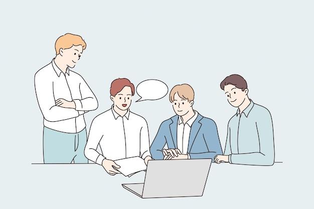Lluvia de ideas sobre el concepto de colaboración de trabajo en equipo