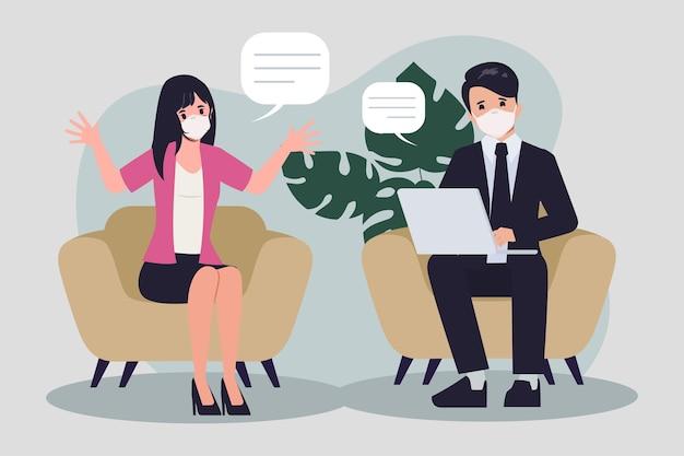 Lluvia de ideas sobre el trabajo en equipo en un nuevo carácter normal persona de oficina de trabajo en equipo de personas de negocios