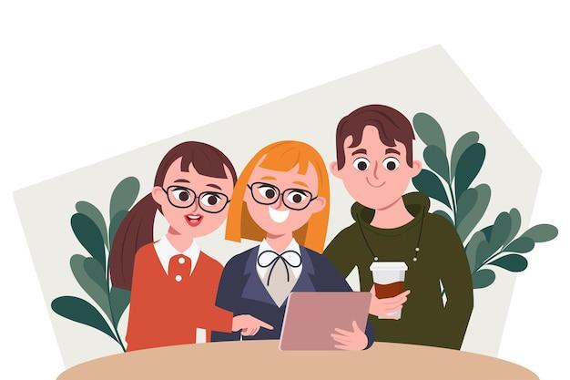 Lluvia de ideas, trabajo en equipo, carácter, gente de negocios, oficina, colega, seminario, reunión, espacio de coworking