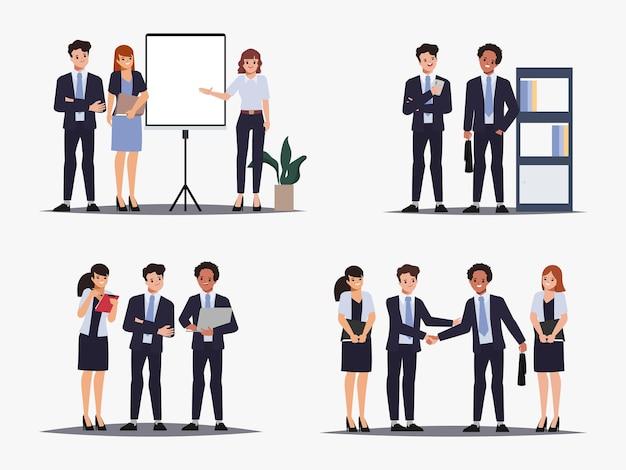 Lluvia de ideas, trabajo en equipo, carácter, gente de negocios, trabajo en equipo, oficina, carácter, animación