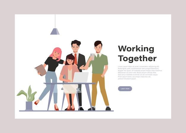 Lluvia de ideas, trabajo en equipo, carácter, gente de negocios, trabajo en equipo, oficina, carácter, coworking