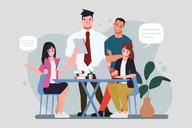 Lluvia de ideas, trabajo en equipo, carácter, gente de negocios, trabajo en equipo, oficina, carácter