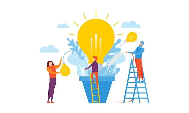Lluvia de ideas de trabajo en equipo, diseño de ilustración de reuniones de negocios
