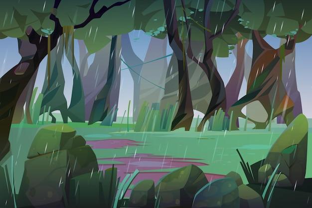 Lluvia en la ilustración del bosque de verano