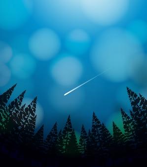 Una lluvia de meteoritos en el cielo.
