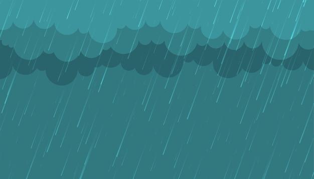 Lluvia monzónica con fondo de nubes