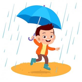 Lluvia de paraguas de niños felices