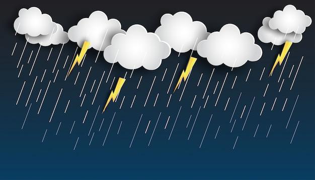 Lluvia y tormenta en diseño de plantilla de cielo nocturno