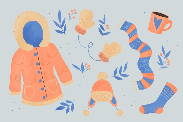 Lo esencial y ropa de invierno de acuarela