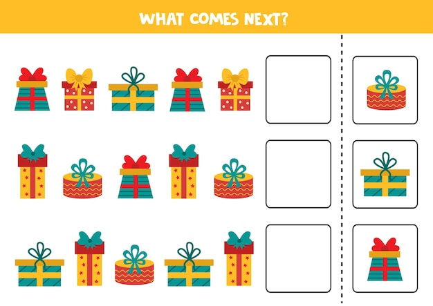 Lo que sigue con las cajas de regalo de dibujos animados. hoja de trabajo de navidad. juego de lógica para niños.