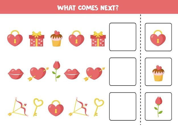 Lo que viene a continuación con elementos de dibujos animados de san valentín. juego de lógica educativo para niños.