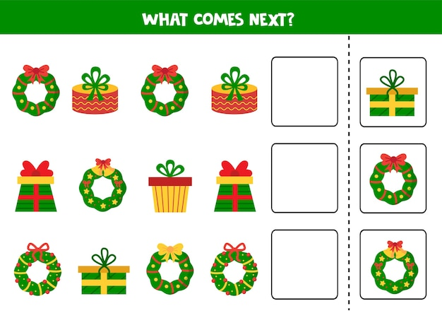 Lo que viene a continuación juego con coronas navideñas y regalos. hoja de trabajo lógica.