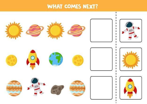 Lo que viene a continuación juego con planeta de dibujos animados, sol y cohete. juego de lógica educativo para niños.