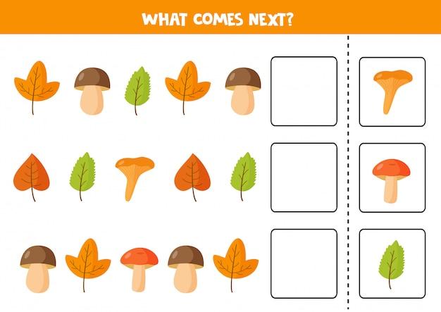 Lo que viene después con coloridas hojas de otoño y setas.