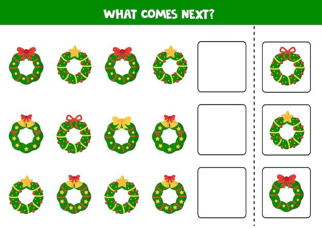 Lo que viene después con coronas navideñas juego de lógica educativo para niños