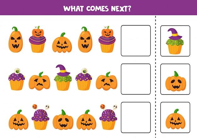 Lo que viene después con cupcakes y calabazas de halloween.