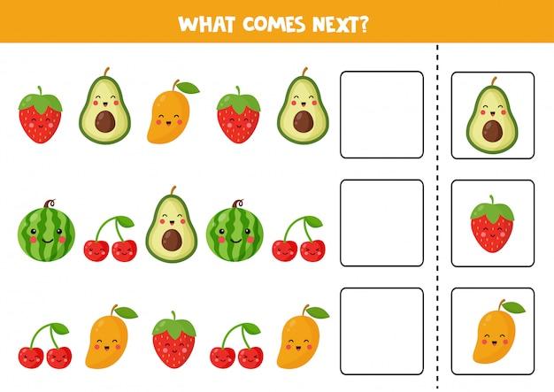 Lo que viene después con lindas frutas kawaii. ilustración de vector de dibujos animados de cereza, fresa, aguacate, sandía, mango. hoja de trabajo lógica para niños.