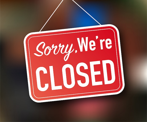 Lo sentimos, estamos cerrados colgando signo sobre fondo blanco. firmar por la puerta. ilustración de stock