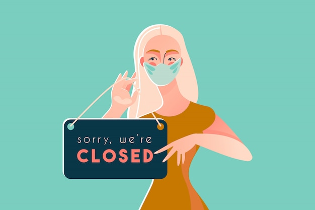 Lo sentimos, estamos cerrados cuarentena de la enfermedad de coronavirus 2019 covid-19